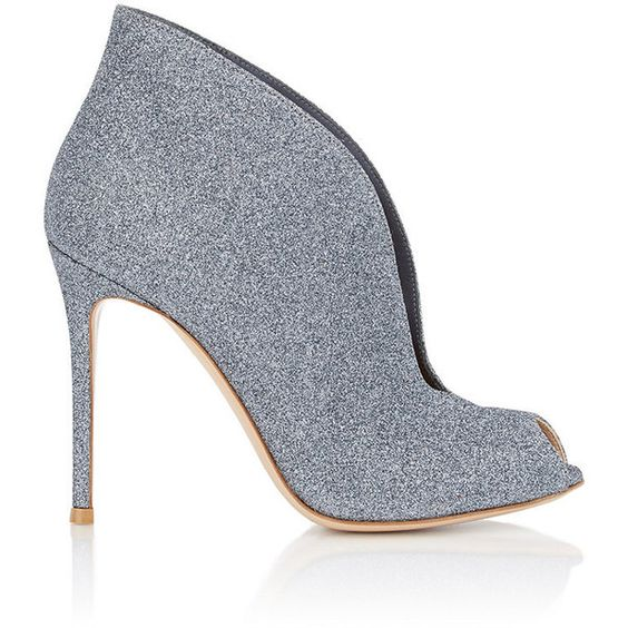 """Gianvito Rossi Women's """"Vamp"""" Ankle Booties ($339) ❤ liked on Polyvore featuring shoes, boots, ankle booties, ankle boots, grey, leather boots, peep toe bootie, gray ankle boots, high heel booties and leather ankle boots"""