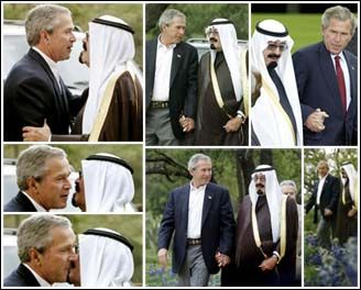 "Bush and Saudi Prince Abdullah kiss and hold hands.  George W. Bush in love.  It's so sweet!  Now you know why Bush never went after the Saudi, Bin Laden.  Bush's ""love""  for the Saudi's and their oil trumped concern for 9/11 and its victims.  And Then  Thousands Died And Thousands Of Lived Were Destroyed. Do The Repukes Open Their Mouths On That? [And We Can't  Forget, The Revenge For Daddy.]:"
