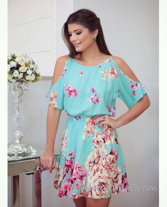 2020 Yazlik Kisa Elbise Modelleri Yesil Kisa Omuz Dekolteli Kisa Kollu Desenli Elbise Modelleri Elbise Cicekli Elbiseler