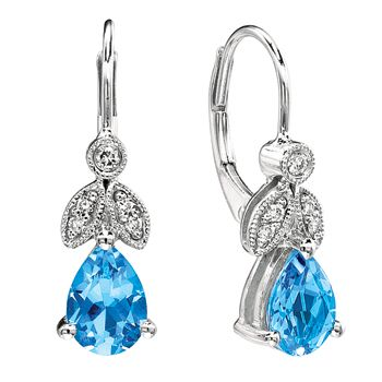 Gabriel & Company 14K White Gold Blue Topaz and .09ctw Diamond Lever Back Earrings  #jewelry #topaz #earrings #diamonds #bluetopaz