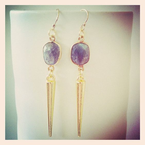 Labradorite & gold spike earrings by oiajules on Etsy, $40.00