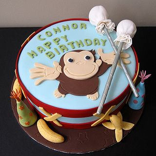 Drum cake with Curious George