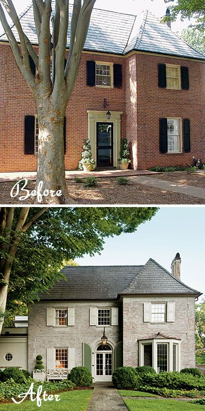 Red brick to French country - paint, new entry & window with copper roof: