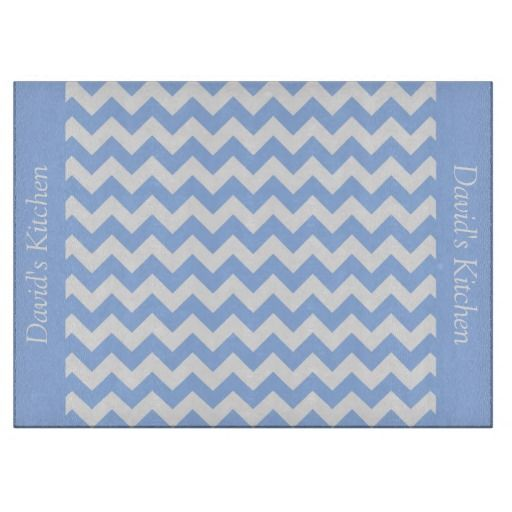 Sky Blue Chevron Glass Cutting Board ...................This design features a Sky Blue Chevron pattern. The TEXT on both sides (left and right) can be customized with your own name. Check out my store for more colors.
