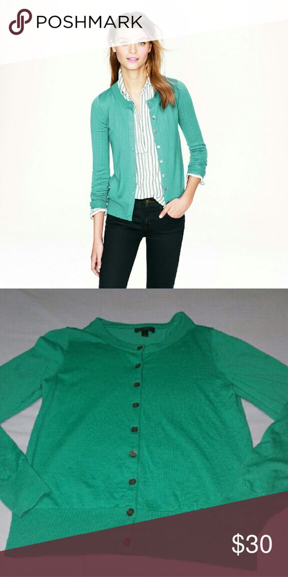 GUC J CREW GREEN TIPPI CARDIGAN SZ M Good used Condition. Gently used. J. Crew Sweaters
