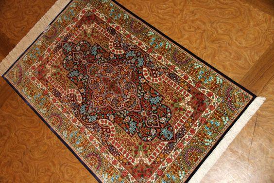 シルクの玄関マットとてもカラフルのペルシャ絨毯クム56094、お買い得シルクじゅうたん