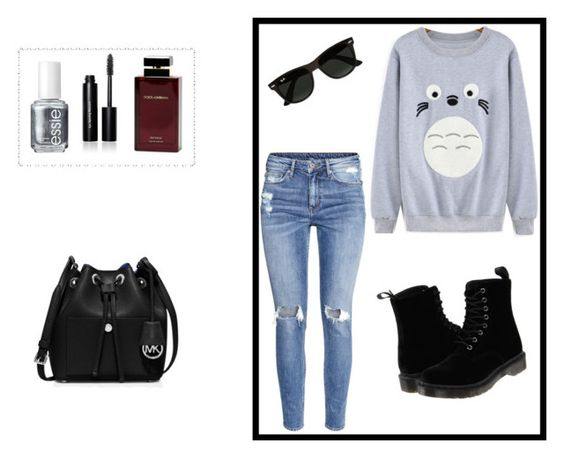 """Cartoon"" by minna-998 ❤ liked on Polyvore featuring H&M, Bobbi Brown Cosmetics, Essie, Dolce & Gabbana Fragrance, Ray-Ban, Dr. Martens and MICHAEL Michael Kors"