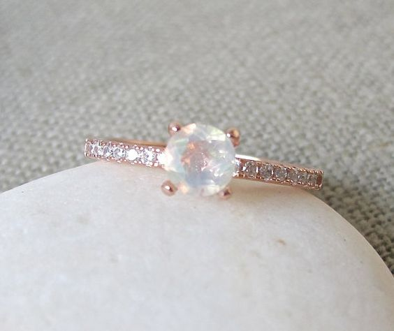 4 Prong Opal Ring Promise Ring Engagement Ring Rose by Belesas