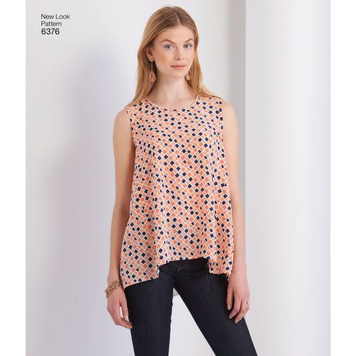 New Look Pattern 6376 Misses' Tops with Length Variations: