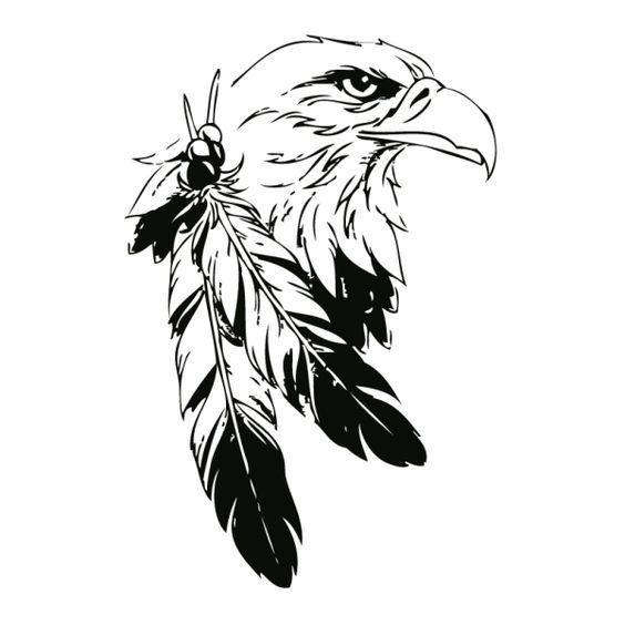 Mural Aigle Indien Silhouette Digistamp Oiseau Dessin En