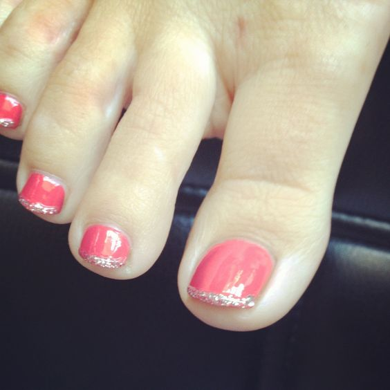 pretty - do a color and then French tip with a glitter - so simple and easy to do - takes no time at all