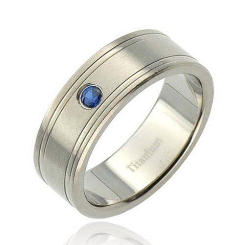 8mm Pip-Cut Titanium Grooved Round Synthetic Blue Sapphire Men's Wedding Band FlameReflection. $27.99. Comfort Fit. Stone Carats: 0.2. Ring Color: Silver. Stone Size: 3 MM. Finish: High Polish