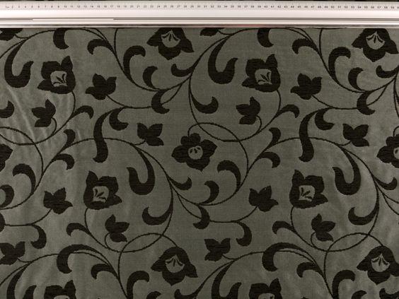 Tissu pour décoration, haute qualité, fleurs, noir-gris, 150 LO-0314 - Tissu et mercerie Tissus-Zanderino.fr