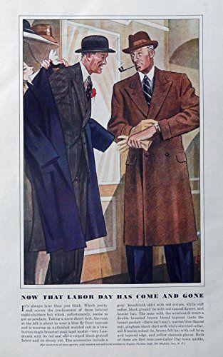 Men's Fashions, Vintage Print Ad. 30's Color Illustrations (Labor Day) Original Rare 1938 Esquire Magazine Art