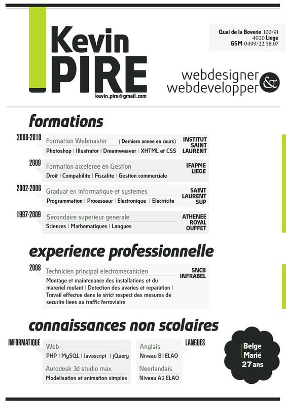 Understated Lime Green Resume