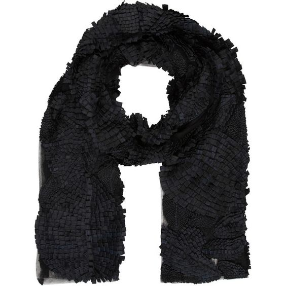 Pre-owned Vera Wang Mesh Ruffled Scarf (195 CHF) ❤ liked on Polyvore featuring accessories, scarves, black, blue scarves, vera wang, ruffled shawl, blue shawl and ruffle scarves