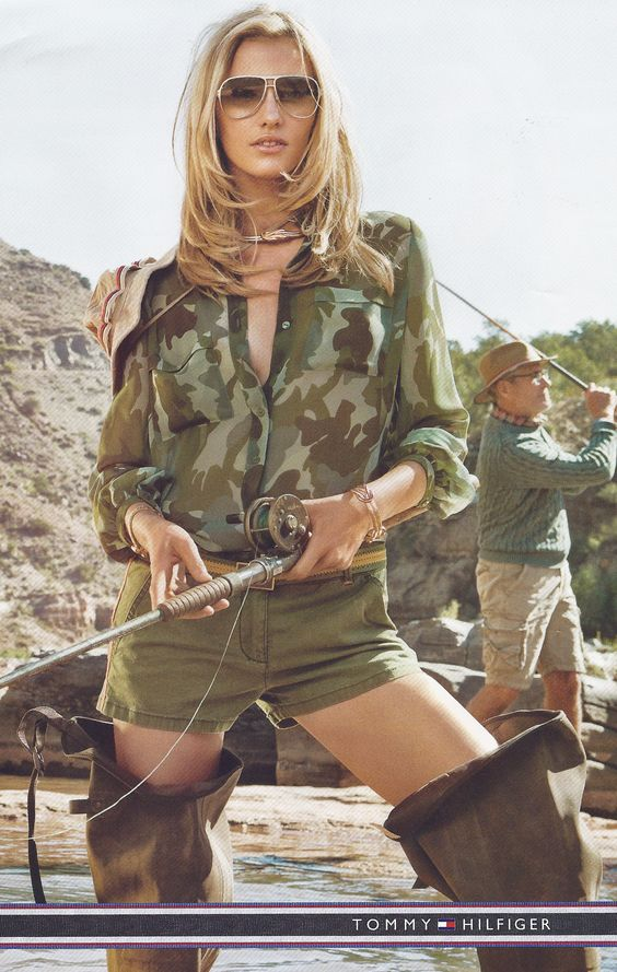 hip waders and camo while flyfishing hot my style