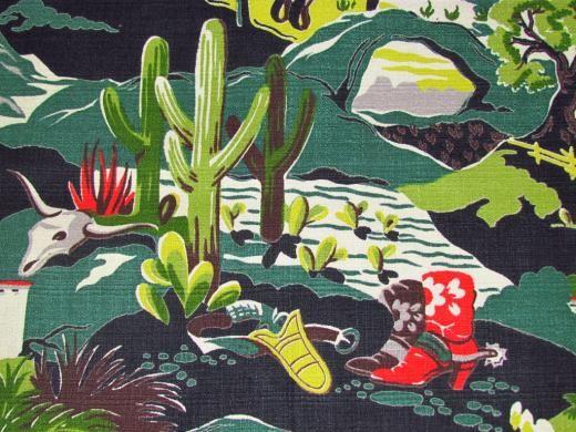 Western themed bark cloth, vintage textiles
