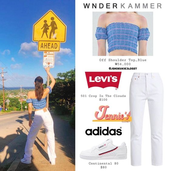 "BLACKPINK JENNIE'S CLOSET on Instagram: ""190909 - @jennierubyjane Insta Story update ⠀ ⠀ #JENNIE #제니 #BLACKPINK #블랙핑크 ⠀ #Wnderkammer • Off Shoulder Top_Blue #Levis • 501 Crop In…"""