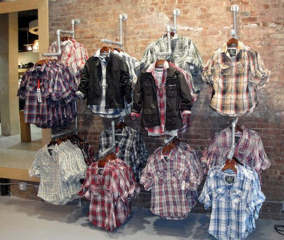 Wall Mounted Display Fixtures : Wall Mounted Display Racks Pipe Clothing Racks Pinterest Wall mount, Industrial and Retail