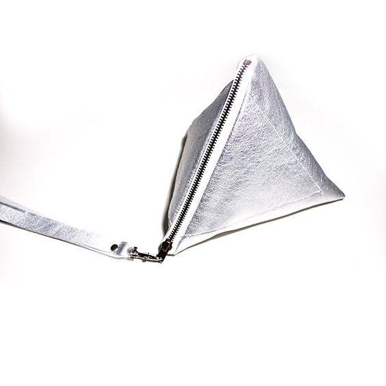 Silver Leather Pyramid Wristlet Purse 3D Clutch from gmalou by DaWanda.com