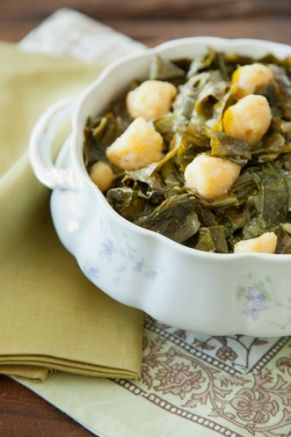 Southern Collards with Cornmeal Dumplings
