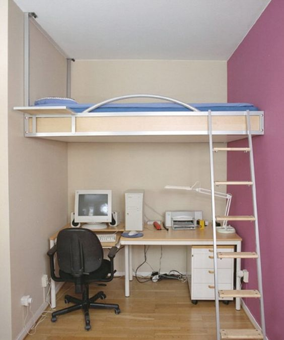 Lofted beds are the ultimate space saver, especially if you are trying to make a small bedroom look big!