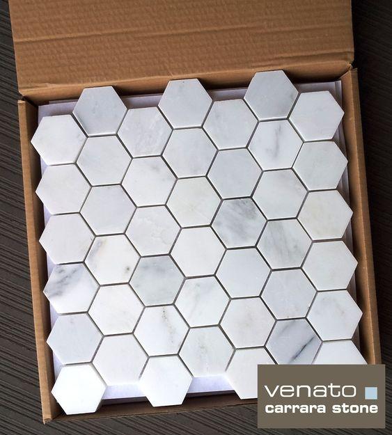 "Carrara Venato 2x2"" Hexagon Honed"