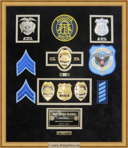 Cobb County Police Department Retirement Shadow Box With Police Badges Patches Id Cards And Lapel Pins The Shadow Box Display Case Shadow Box Police Badge