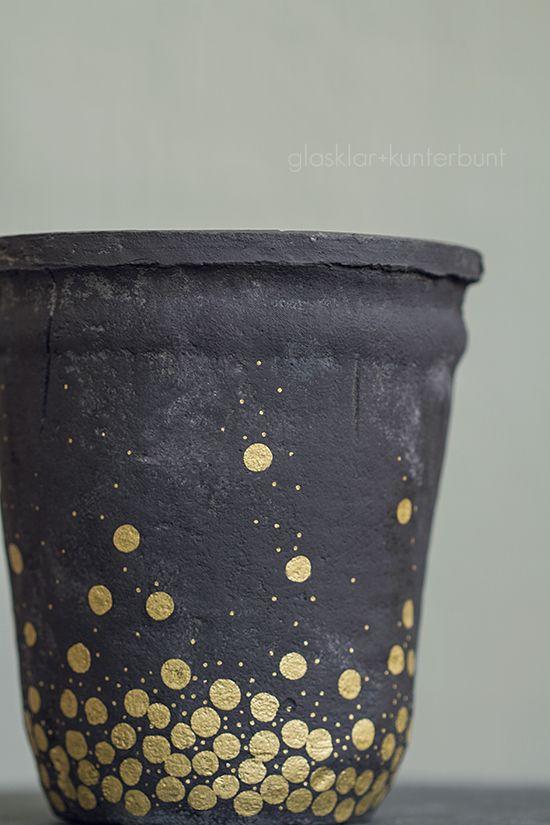 glasklar & kunterbunt: Gold ist das neue Neon - Blumentopf Umstyling