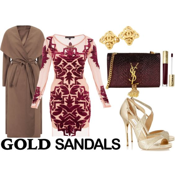 Gold Sandals by sherrykaydesigns on Polyvore featuring moda, Jimmy Choo, Yves Saint Laurent, Chanel, Estée Lauder, goldsandals and marsala