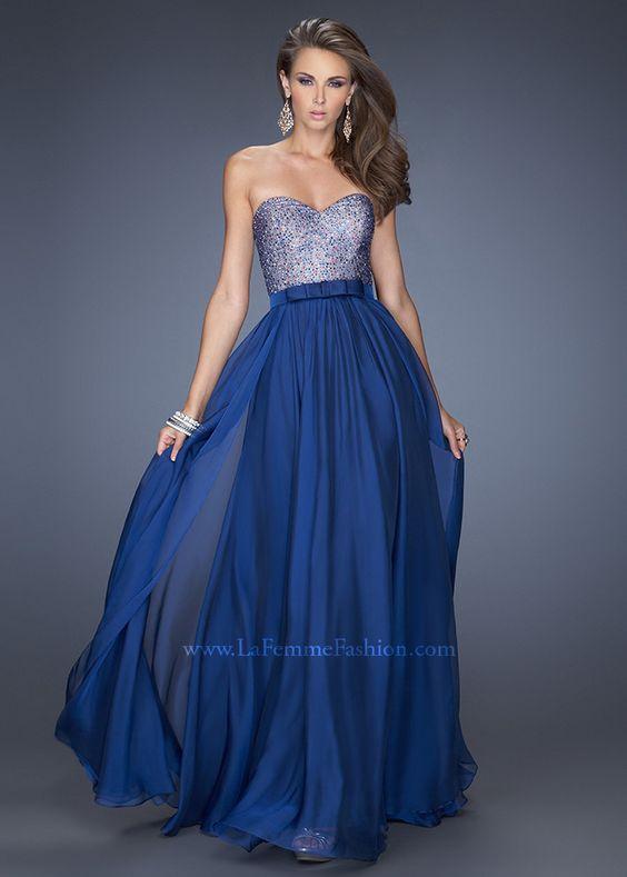 La Femme 20041 - Marine Blue Strapless Chiffon Prom Dresses Online ...