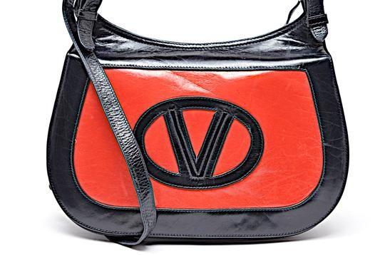 Mario Valentino Vintage Navy Handbag With Adjustable Strap Black Red Leather Shoulder Bag Navy Handbag Leather Shoulder Handbags Leather Shoulder Bag
