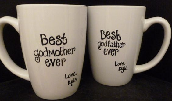 GODMOTHER Or GODFATHER Mugs, Godparent BAPTISM Or Birthday
