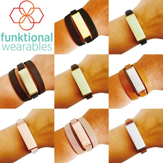 Fitbit Bracelet for Fitbit Flex Fitness Trackers - The KATE Brushed Metal and Genuine Leather Wrap or Single Strap Buckle Fitbit Bracelet - Free U.S. and Canada Shipping  This classic Fitbit Bracelet is as chic and versatile as it gets. The top quality genuine leather is such a rich color that plays nicely with the brushed metal detail. Choose metal or crystal studs to add just enough detail to your look. Wrap this beautiful bracelet around your wrist, and nobody will have any idea that…