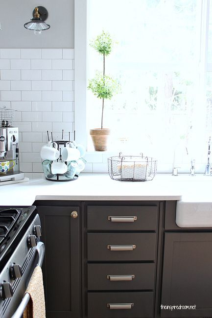 Best Greige Gray Cabinets White Subway Tile The Inspired Room 640 x 480