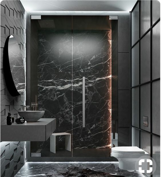 Black Marble Luxury Bathroom Minimalist Bathroom Design