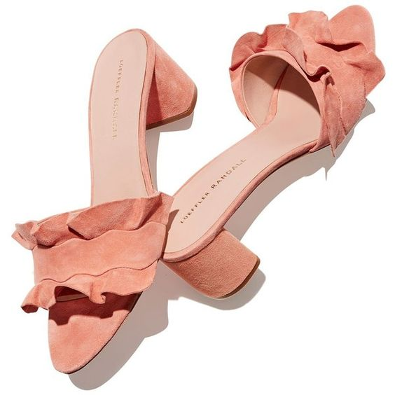 Loeffler Randall Vera Ruffle Block Heel Slide Sandals (39360 ALL) ❤ liked on Polyvore featuring shoes, sandals, heels, loeffler randall, ruffle sandals, slide sandals, ruffle shoes and block heel sandals