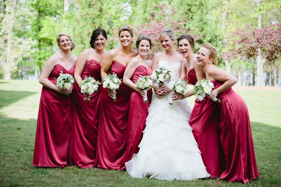 we love the color of these bridesmaids dresses this bride chose for her wedding her Lanier Islands