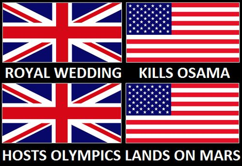 """""""The US can't handle the UK being in the spotlight. 'Damnit the Uk is hosting the Olympics and everyone is thinking they're cooler than us! Quick, land on Mars!'"""""""
