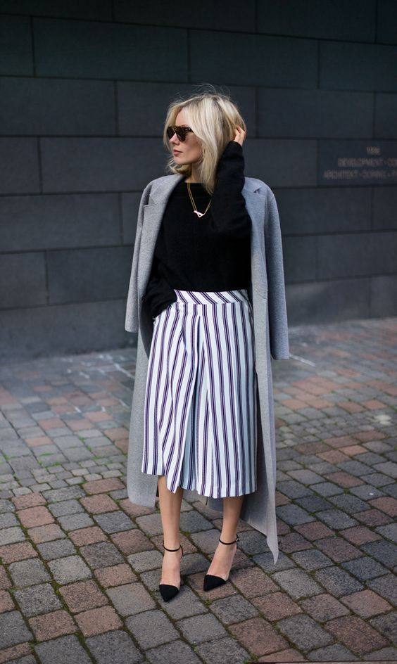 Vertical striped culottes
