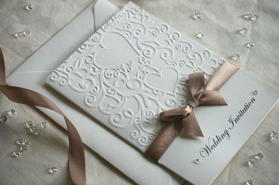 30 Embossed Wedding Invitations (H-d) Personalised Handmade - Satin & diamante