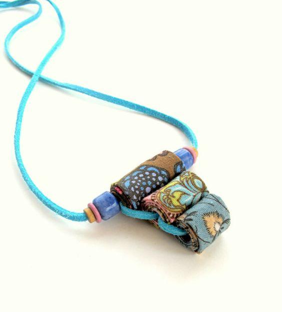 English garden floral fiber necklace in pastel colors by Gilgulim, $17.00