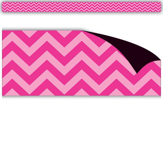 """Hot Pink Chevron Magnetic Borders - Decorate your whiteboard in a snap with durable, reusable magnetic decor! Add flair on other metal surface such as doors, desks, shelving, and bins. Cuts easily with scissors to make your own labels or game pieces. Includes 12 pieces per pack. Each magnetic strip is 24"""" x 1.5"""". 24 total feet."""