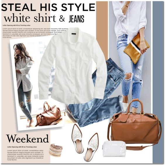 Style Your Boyfriend's Shirt by cruzeirodotejo on Polyvore featuring moda, J.Crew, Victoria Beckham, Gucci, ALDO, Topshop, Paul Frank and boyfriendstyle: