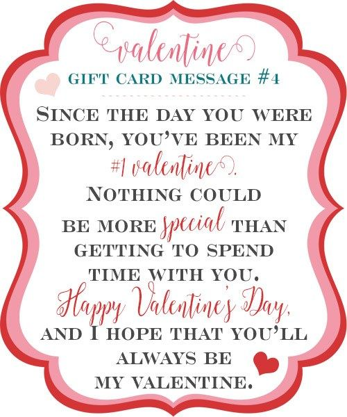 10 Sweet Valentine Gift Card Message Ideas Valentines Gift Card