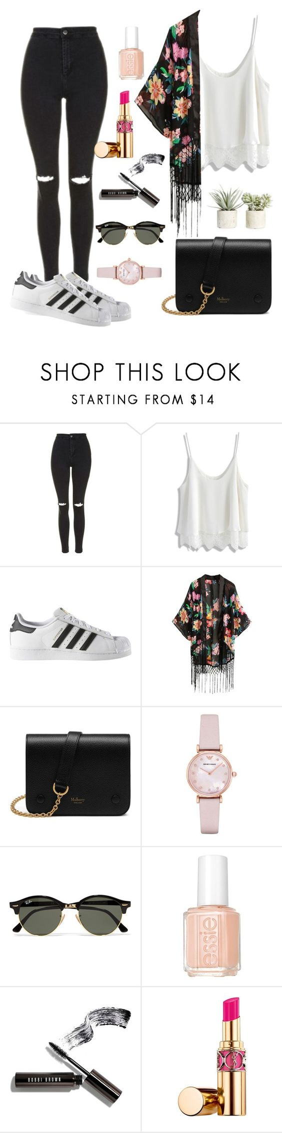 """Esittely Miljalle"" by neacamilla ❤ liked on Polyvore featuring Topshop, Chicwish, adidas, Mulberry, Emporio Armani, Ray-Ban, Essie, Bobbi Brown Cosmetics, Yves Saint Laurent and Allstate Floral"