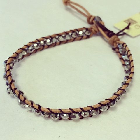 Silver bead and leather bracelet. $18