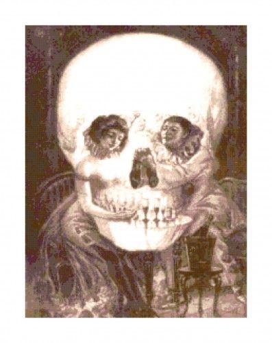 Black and White Gothic Skull Illusion PDF Cross-Stitch Pattern   BellaStitchery - Patterns on ArtFire