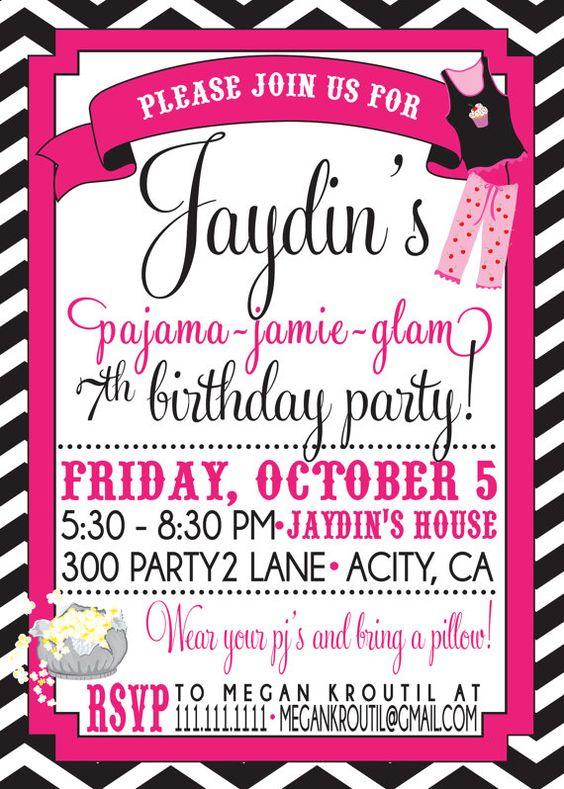 PAJAMA PARTY invitation Slumber Party   Pajama party, Night owl ...